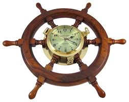 Nautical Desk Clock Oak Ships Wheel Clock Brass Porthole Nautical 24