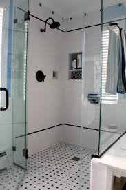 modern glass shower stall with stailess steel frame for small