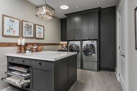 Pull Out Laundry Cabinet Dark Gray Wash Laundry Room Cabinets Contemporary Laundry Room