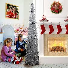 up christmas decorations aerwo 5ft pop up christmas tinsel tree with stand
