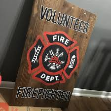 firefighter home decorations firefighter wooden pallet sign volunteer firefighter