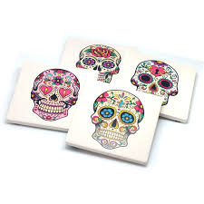 set of 4 stone drink coasters with sugar skulls day of the dead