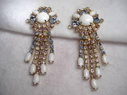 rhinestone chandelier earrings vintage costume earrings signed hobe rhinestone chandelier earrings