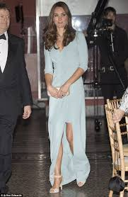 kate duchess of cambridge dazzles in baby blue gown at the