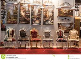 chairs at macef home show in milan editorial photography image