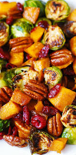 thanksgiving easy meals roasted brussels sprouts cinnamon butternut squash pecans and