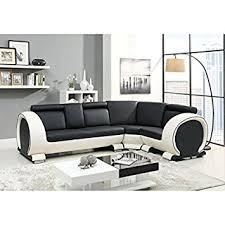 canape angle noir et blanc canapé angle droit arrondi 4 places cuir vachette noir