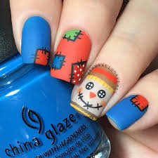 fall thanksgiving nail art scarecrow nails matte version of my previous post i can u0027t decide