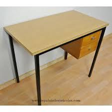 pied de bureau bois bureau vintage pieds métal plateau formica 2 tiroirs bois le