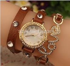 love charm leather bracelet images 100pcs lot leather bracelet watch crystal stones golden love charm jpg