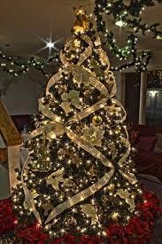 christmas tree ribbon gold themed christmas tree themed christmas trees