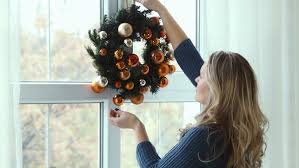 Christmas Window Video Decoration by Christmas Wreath Hanging On Window Stock Footage Video 14488024