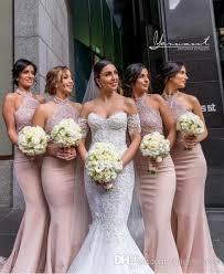 gold bridesmaid dresses 2018 modest mermaid gold bridesmaid dresses lace halter