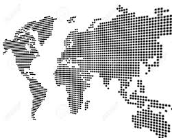 Black And White World Map World Map Black Points On White Background 3d Stock Photo