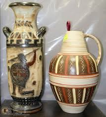2 assorted large ornamental vases
