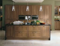 walnut kitchen cabinets in the kitchen with stainless steel hood
