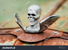 chrome skull wings ornament on stock photo 108631625