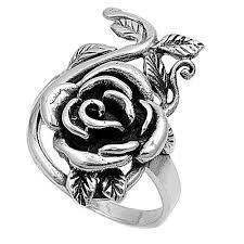 silver rose rings images Handcast large 925 sterling silver rose design flower ring jpg