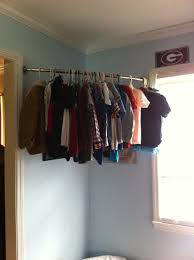 Clothes Storage No Closet No Closet I Used A Curved Shower Rod For My Son U0027s Clothes