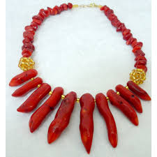 african wedding bead necklace images Adaoma red pepper coral and gold beaded statement necklace jpg