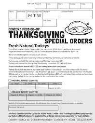 thanksgiving thanksgiving concord food co op turkey order form