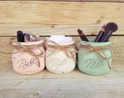 Mason Jar Bathroom Organizer Mason Jar Planter Box Organizer Bathroom Decor Mason Jar