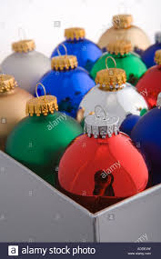 closeup studio portrait of colorful tree bulb ornaments
