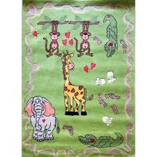 Kids Animal Rugs Amazon Com Jungle Safari Zoo Animal Rug Green Hand Tufted Shag