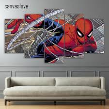 online buy wholesale pictures spider man from china pictures 5 pieces canvas painting printed comics spider man wall art canvas pictures for living room bedroom