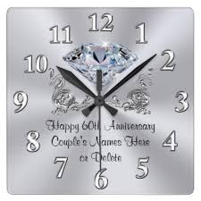 personalized anniversary clocks diamond personalized 60th anniversary gifts clock parents 60th