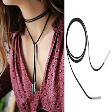 rope necklace choker images New fashion women long black leather rope punk gothic style jpg