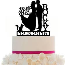 custom wedding cake topper couple silhouette and any dog of your
