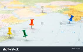 Indian Ocean Map Drawpin Stick Into Real Map Identification Stock Photo 237758146