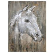 sweet white horse plank wood art dream horse wood panel art