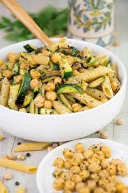 pasta salad recipe w grilled zucchini and chickpeas healthy