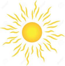 stylish sun with rays isolated on white background royalty free