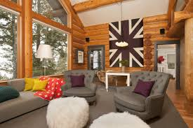 log home interior design using different stain colors on your log