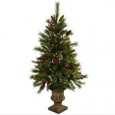 4 foot artificial tree w berries pine cones in urn led