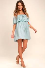 new reaching melodic light blue off the shoulder shift dress
