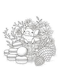 fruits macaroons flowers and vegetation coloring pages for