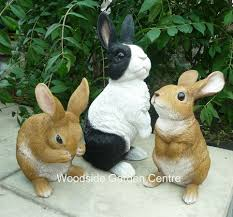 resin real rabbit garden ornament woodside garden