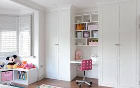 desk childrens bedroom furniture floor to ceiling fitted wardrobes with desk area in white satin