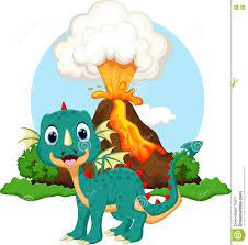 cute dragon cartoon with volcano background stock illustration