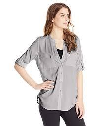 calvin klein blouses calvin klein s modern essential zipper button front blouse