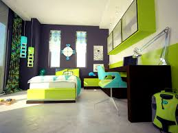 Lime Green And Purple Bedroom - bedroom scenic using green yellow and red interior design black