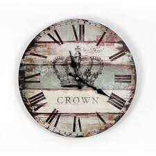 numerals crown wooden wall clock antique style 35 35