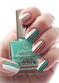 mint and peach retro striped nails funky fingers factory