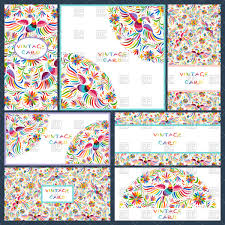 artistic creative business cards with floral mexican ornaments