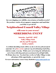 where to shred papers for free free shredding event neighborhood council valley