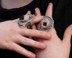 big rings images Two big rings for couple alternative wedding rings weird etsy jpg
